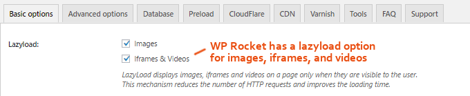 WP Rocket Lazyload Option