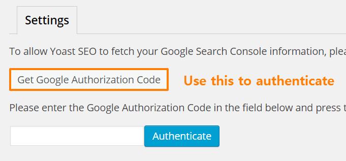 Yoast Google Search Console Authentication