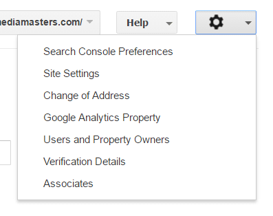 Search Console Main Options