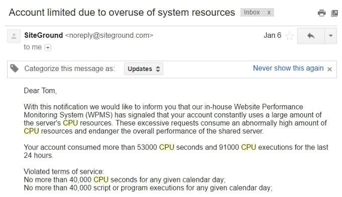 SiteGround CPU Overages