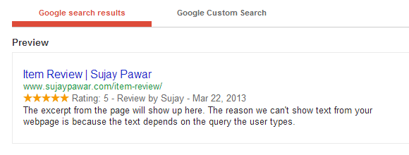 Rich Snippets Google Search Results