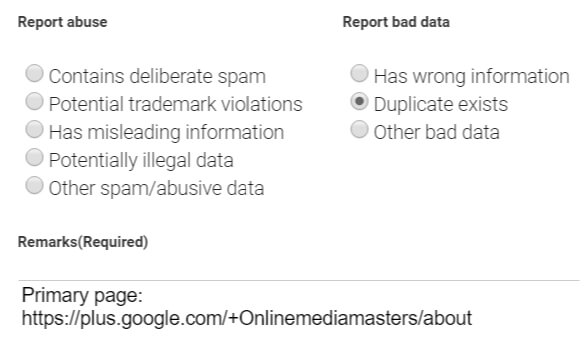 Duplicate Google My Business Page