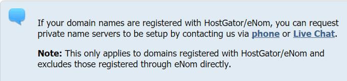 HostGator Private Nameservers