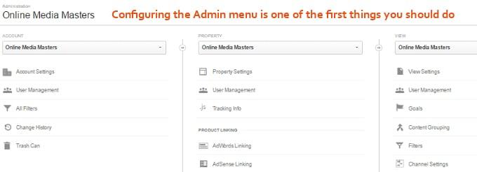 Google-Analytics-Admin-Menu