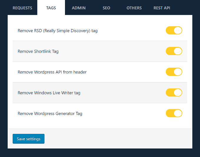 WP-Disable-Tags-Settings