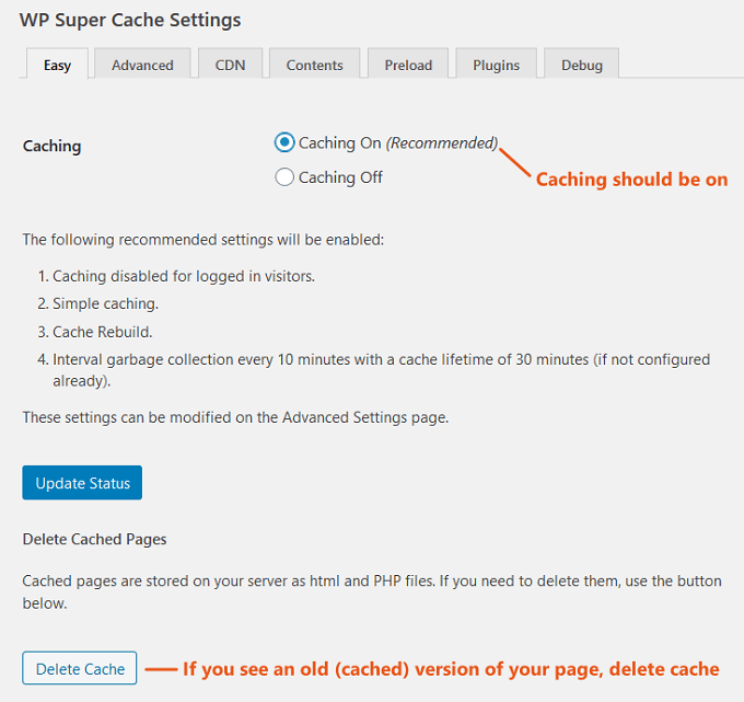 wp super cache - easy settings