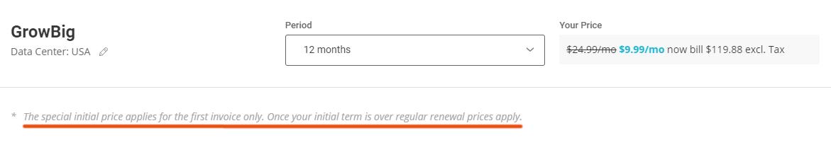 SiteGround Renewal Pricing 1
