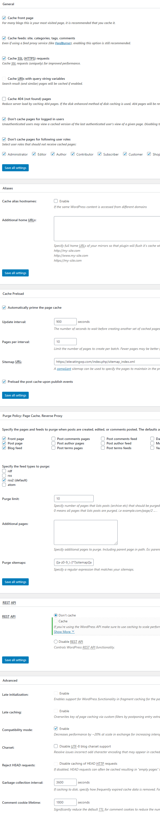 W3 Total Cache Page Cache Settings