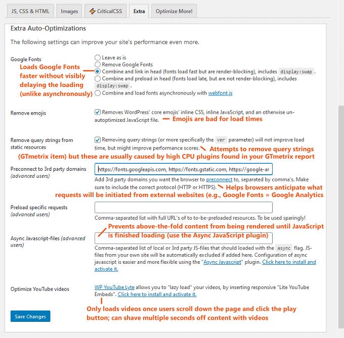 autoptimize extra settings