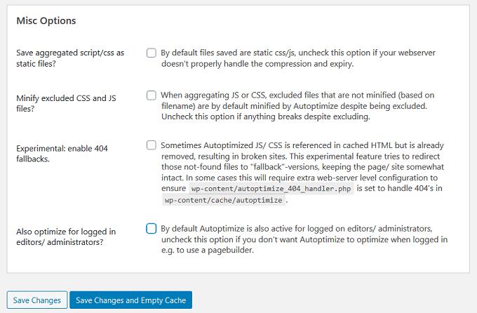 autoptimize misc options