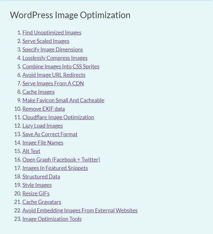 Image Optimization TOC