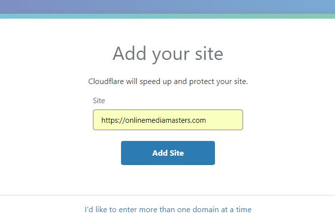 Add Website – Cloudflare