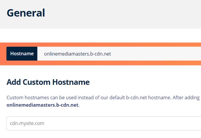 BunnyCDN Hostname