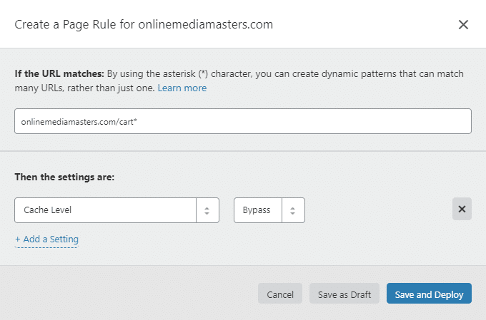 Bypass Cart Page Cloudflare Page Rule