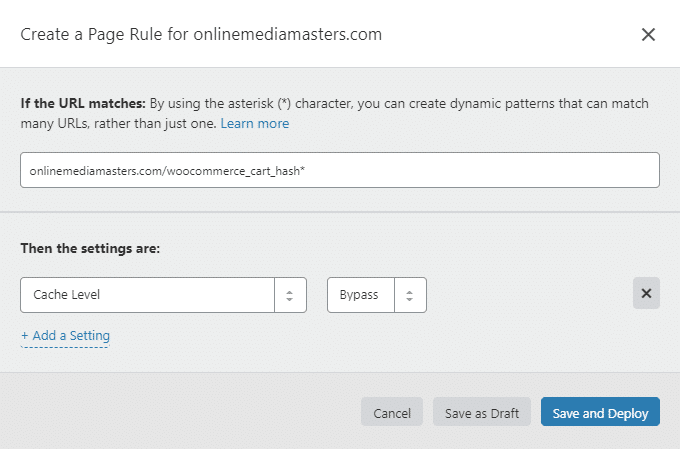 Bypass WooCommerce Cart Hash Cloudflare Page Rule