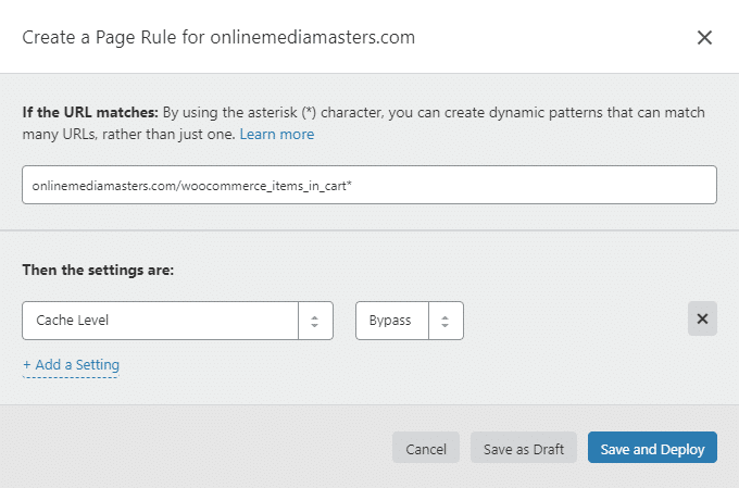 Bypass WooCommerce Items In Cart Cloudflare Page Rule
