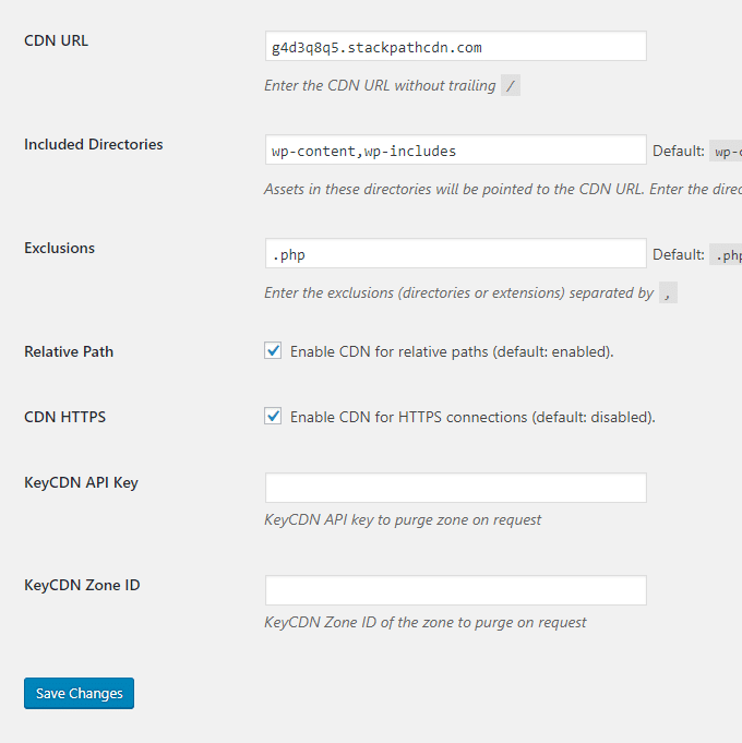 CDN-Enabler-Plugin-Settings