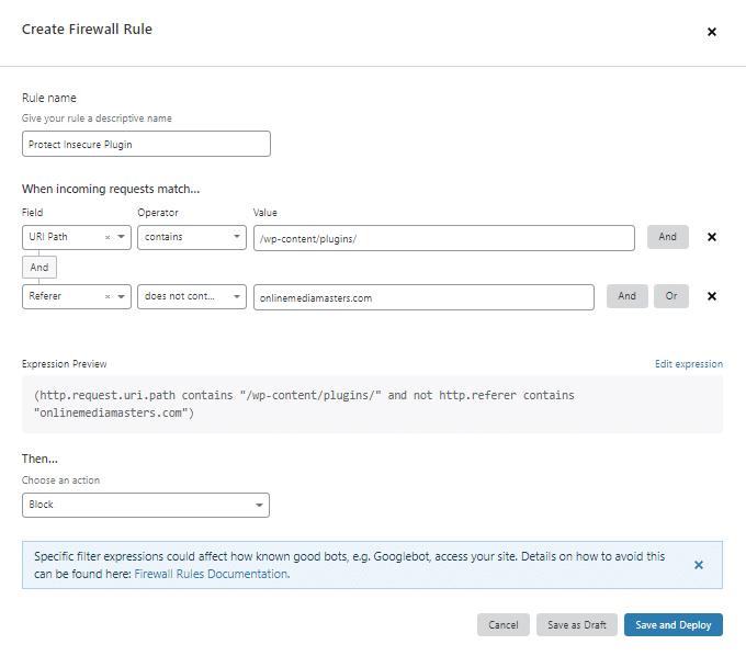 Cloudflare Firewall Insecure WordPress Plugins