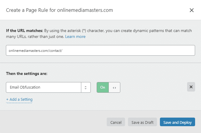 Email Obfuscation Cloudflare Page Rule