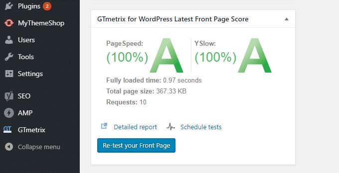 GTmetrix-WordPress-Dashboard-Widget