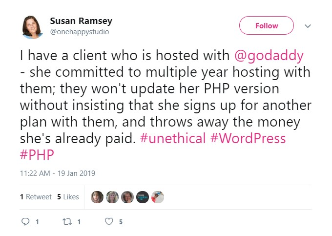 Godaddy Unethical PHP Upgrade