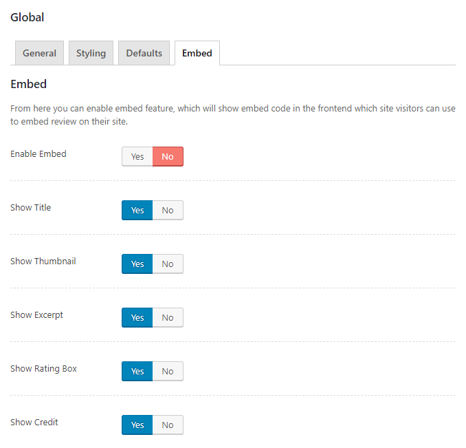 WP Review Global Embed Settings