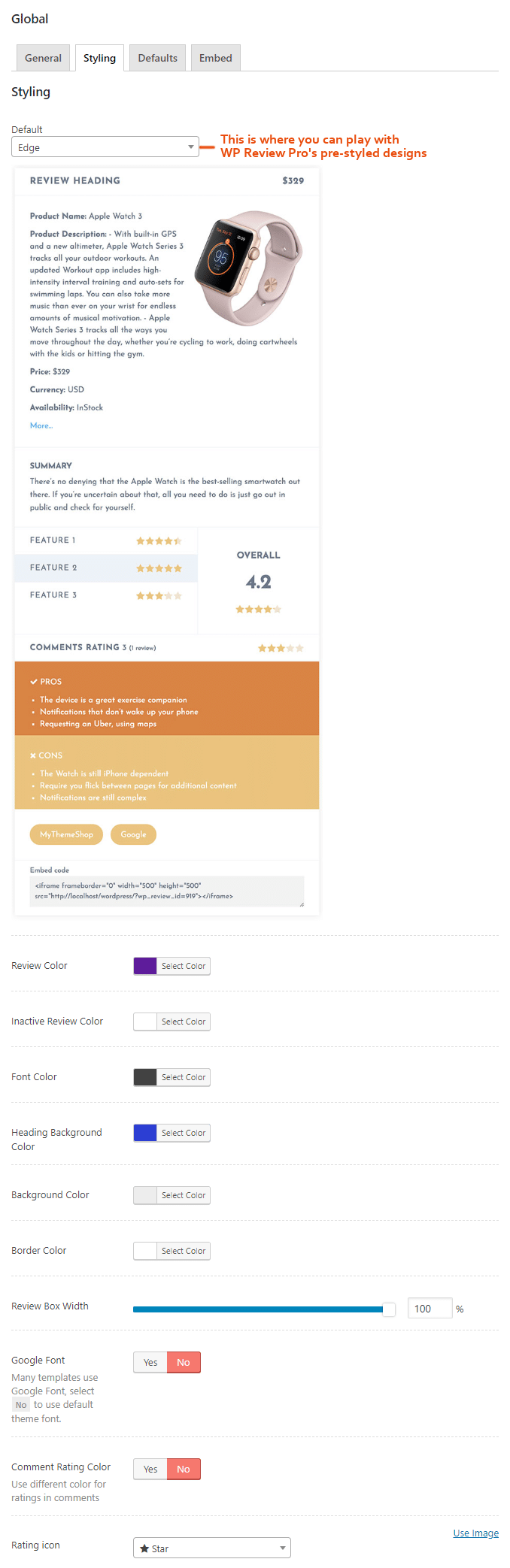 WP Review Styling Settings