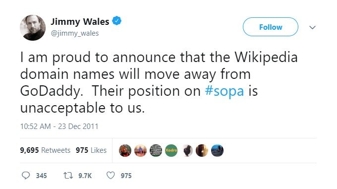 Wikipedia Removes Godaddy Domains