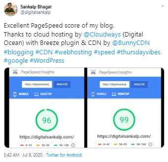Cloudways Google PageSpeed