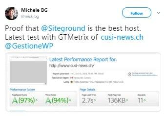SiteGround GTmetrix