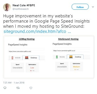 SiteGround PageSpeed Insights