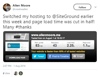 SiteGround Reduced Load Times