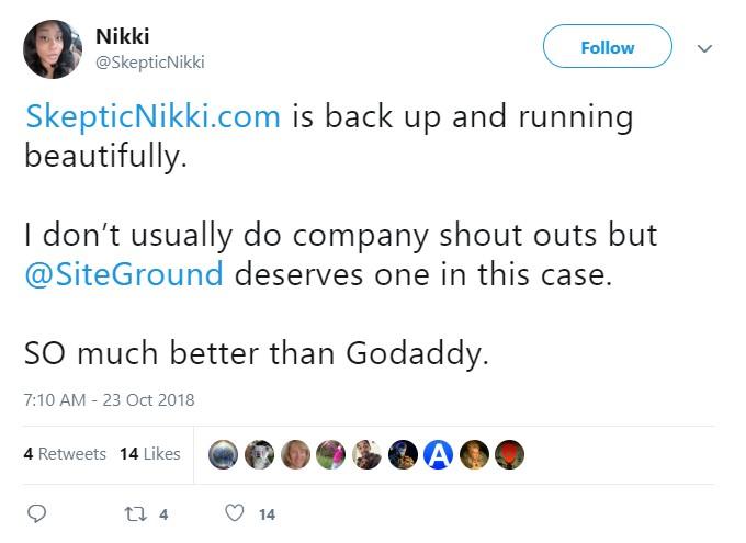 SiteGround vs Godaddy Twitter