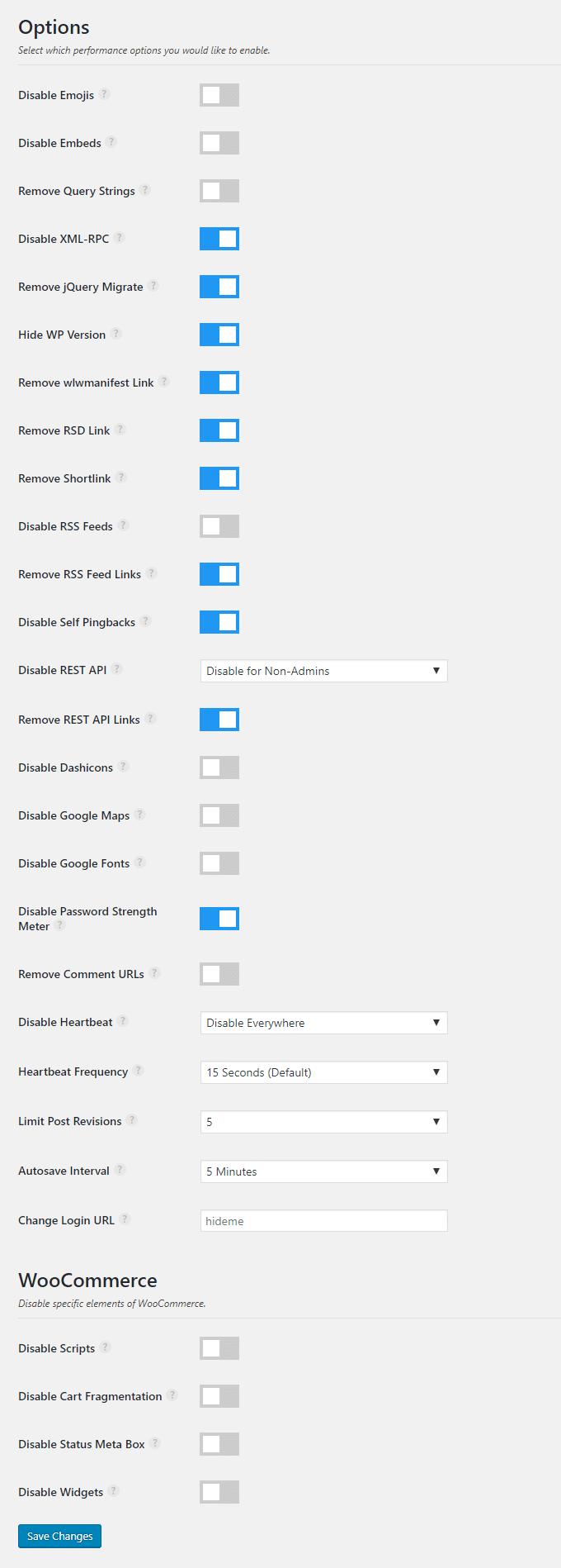 perfmatters settings