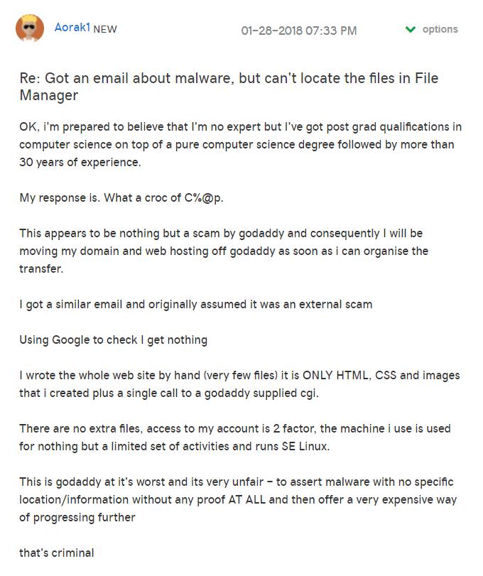 Godaddy Malware Scam