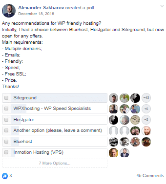 WP Friendly Hosting Poll
