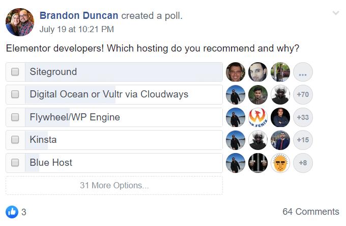 2019 Hosting Facebook Poll