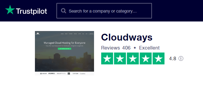 Cloudways TrustPilot Rating
