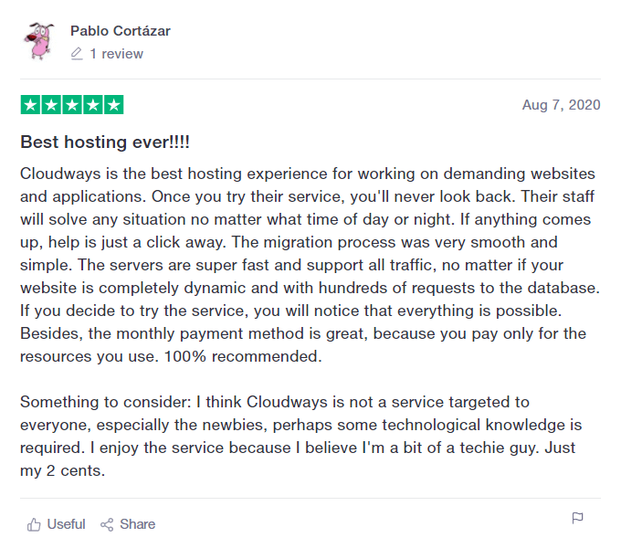 Cloudways TrustPilot Review