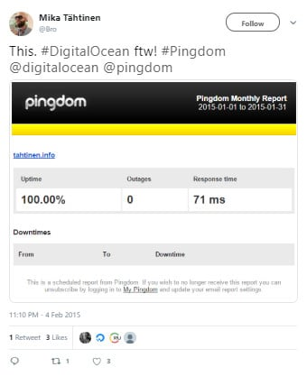 DigitalOcean Pingdom Report
