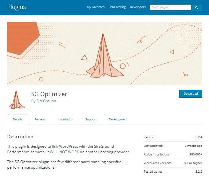 SiteGround SG Optimizer