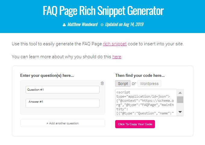 FAQ Page Rich Snippet Generator Tool