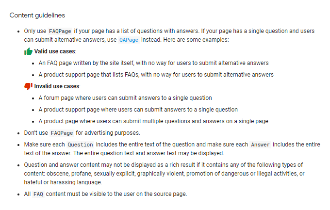 FAQ Rich Snippets Content Guidelines