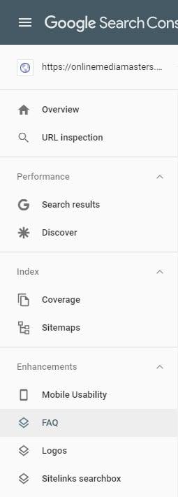 Google Search Console FAQ Tab