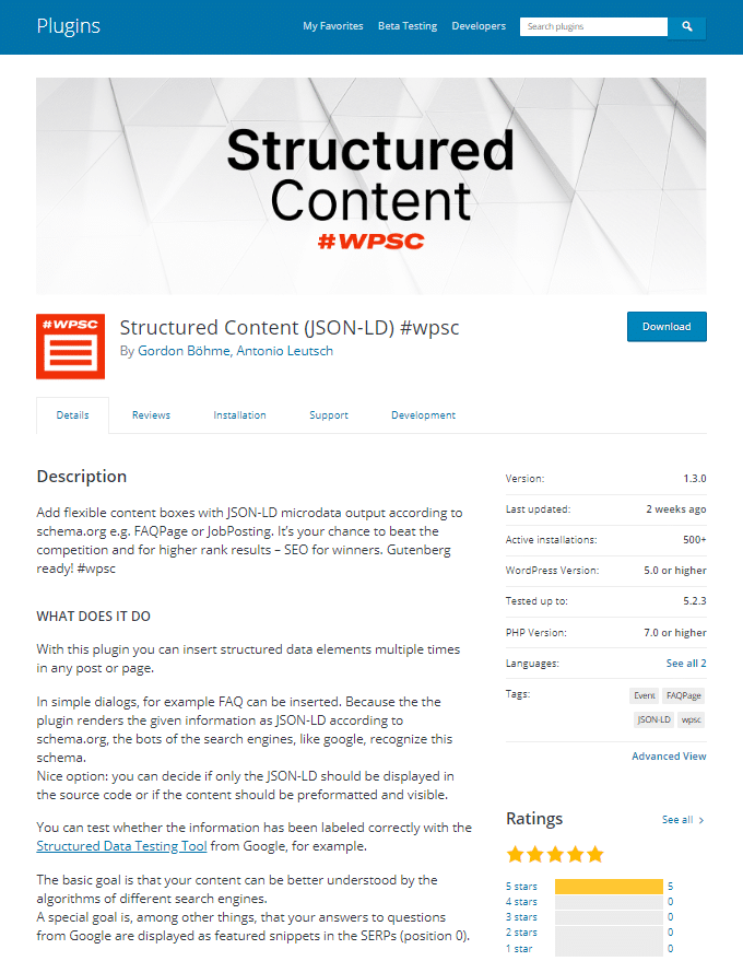 Structured Content JSON-LD wpsc – WordPress plugin