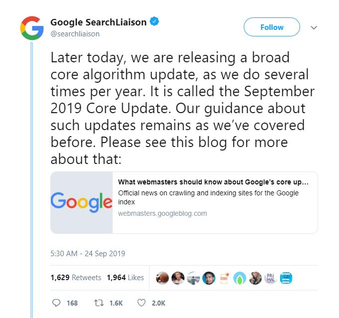 Google Core Algorithm Update