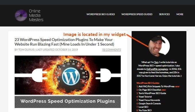 Locate WordPress Widget Image