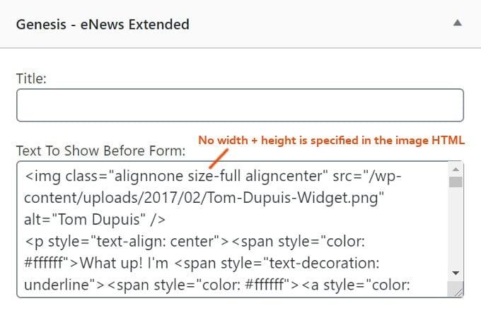 Specify Image Dimensions Widget