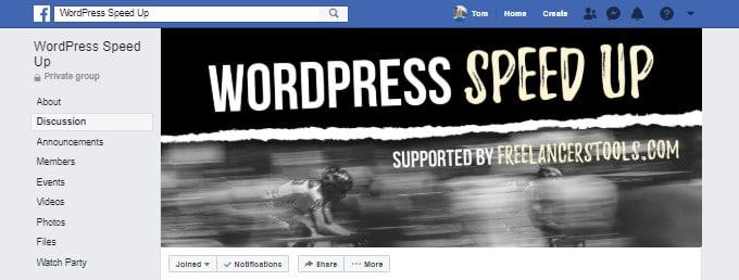 WordPress Speed Up Facebook Group