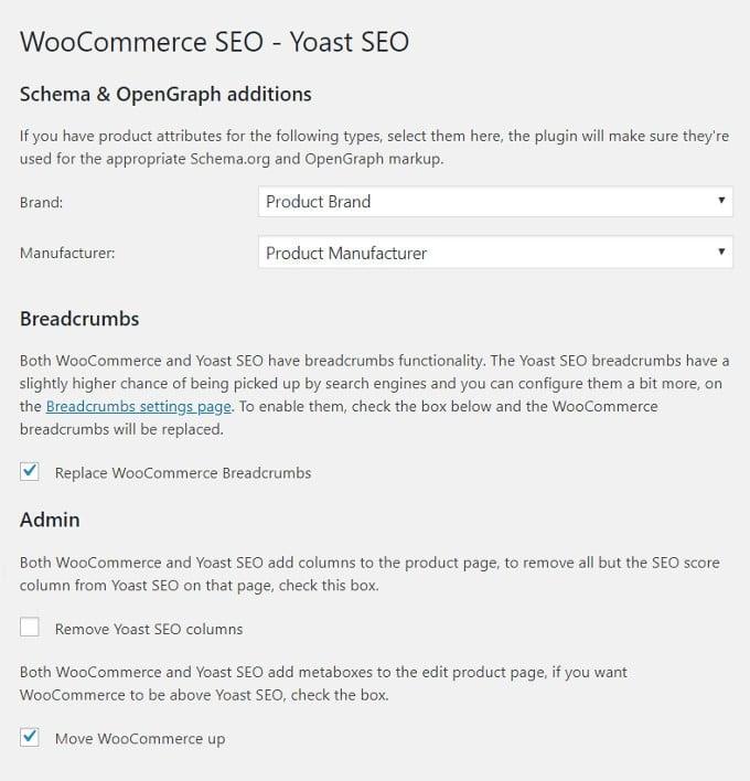 Yoast WooCommerce Settings